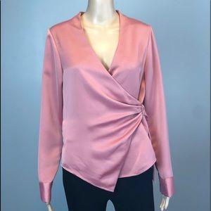 🆕 H Halston pink wrap blouse top shirt